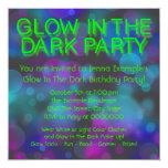 Neon Glow In The Dark Birthday Party 13cm X 13cm Square Invitation Card