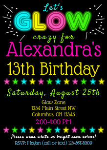 Glow In The Dark Party Invitations Announcements