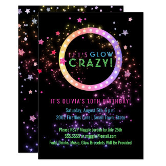 Neon Glow in the Dark Party | Kids Birthday Card