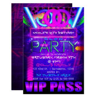 Neon Glow PARTY Birthday VIP PASS Club Invitations