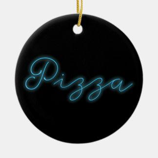Neon Glow Pizza Ceramic Ornament