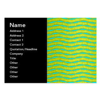 Neon Glow Yellow and Turquoise Bright Fun Pattern Business Card Template