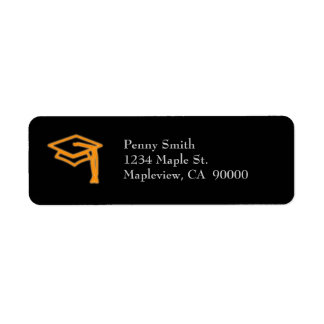 Neon Grad Cap Orange Return Address Label