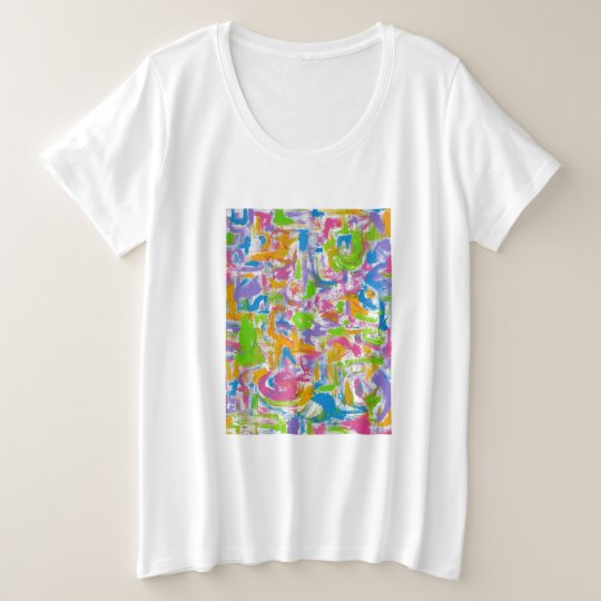 Neon Graffiti-Hand Painted Abstract Brushstrokes Plus Size T-Shirt