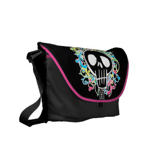 Neon Graffiti Skull Courier Bag