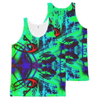 Neon green abstract All-Over print tank top