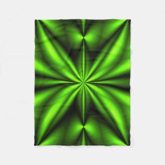 Neon Green Abstract Fractal Fleece Blanket