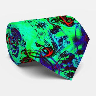 Neon Green Abstract Tie