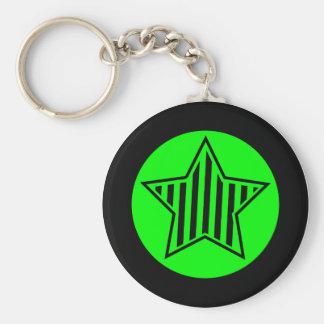 Neon Green and Black Star Keychain