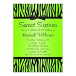 Neon Green and Black Zebra Bow Sweet 16 Birthday 13 Cm X 18 Cm Invitation Card