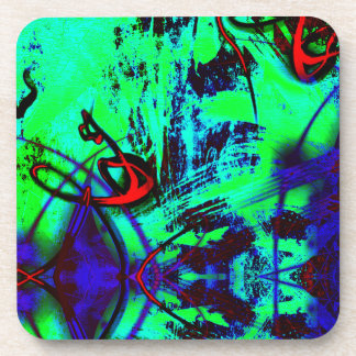 Neon Green And Blue Abstract Pattern Coaster