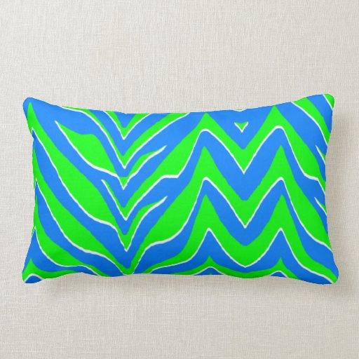 Neon Green and Blue Zebra Stripes Pillows
