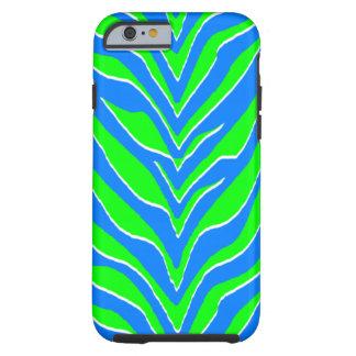 Neon Green and Blue Zebra Stripes Tough iPhone 6 Case