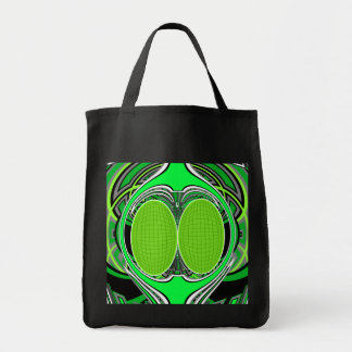 Neon green and gray superfly tote bag