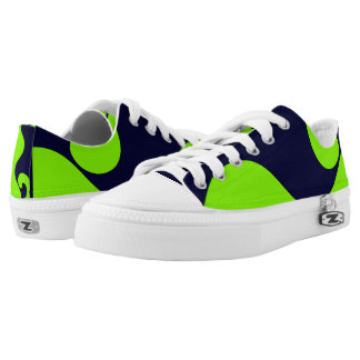 Neon Green and Navy Tidal Lo-Top Printed Shoes