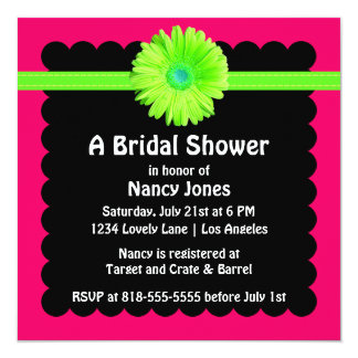 Neon Green and Pink Bridal Shower Invitation