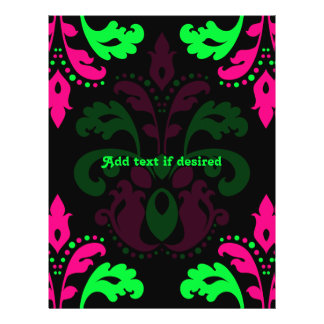 Neon green and pink vintage damask on black flyer