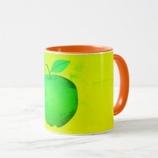 Neon Green Apple Minimalistic Vibrant Orange Bold Mug