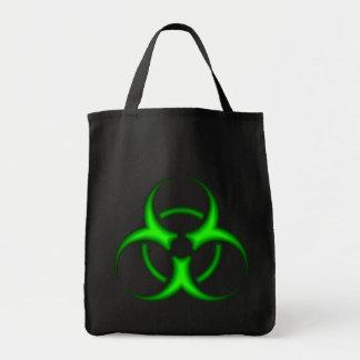 Neon Green Biohazard Symbol Tote Bag