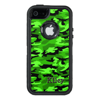 Neon Green & Black Camouflage Print OtterBox iPhone 5/5s/SE Case