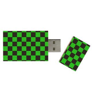 Neon green black checkers wood USB 2.0 flash drive