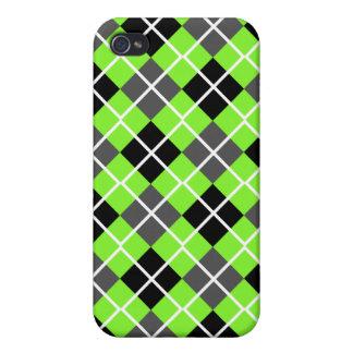 Neon Green Black, Grey, White Argyle iPhone 4 Case