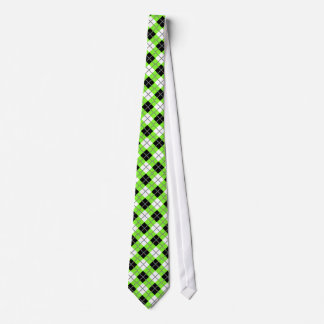 Neon  Green, Black, White & Grey Argyle Print Tie