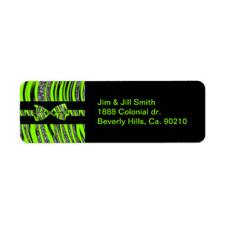 Neon Green & Black Zebra Glitter Stripes Return Address Label