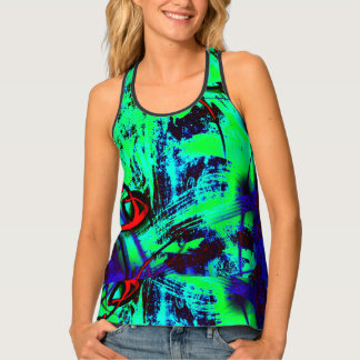 Neon Green, Blue And Red Abstract Pattern Singlet