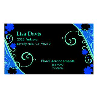 Neon Green Blue Floral Business Cards