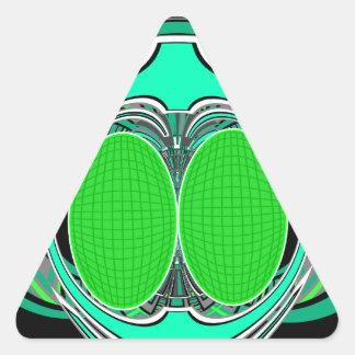 Neon green blue superfly design triangle sticker
