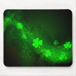Neon green clover mouse pad