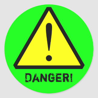 Neon Green Customisable Warning Symbol Sticker