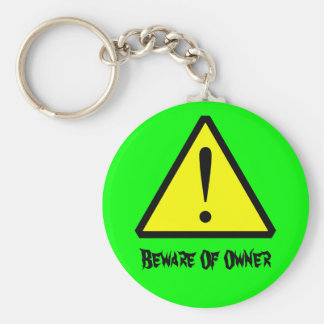 Neon Green Customizable  Warning Symbol Keychain