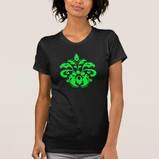 Neon green damask motif cute and fashionable tee shirts