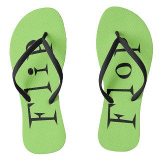 Neon Green Flip Flop Text Flip Flops