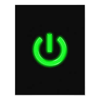 Neon Green Flourescent Power Button 11 Cm X 14 Cm Invitation Card