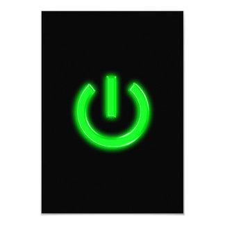 Neon Green Flourescent Power Button 9 Cm X 13 Cm Invitation Card