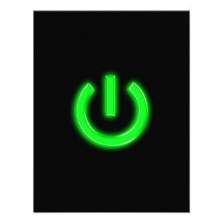 Neon Green Flourescent Power Button Invite