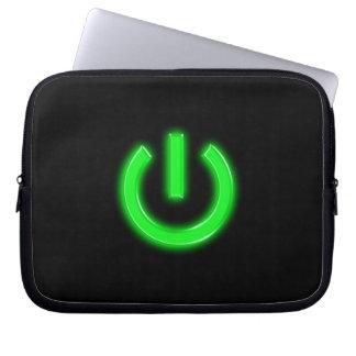 Neon Green Flourescent Power Button Laptop Computer Sleeve