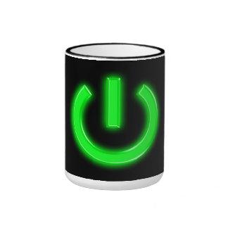 Neon Green Flourescent Power Button Ringer Coffee Mug