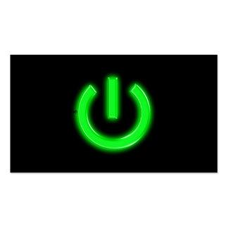 Neon Green Flourescent Power Button Pack Of Standard Business Cards