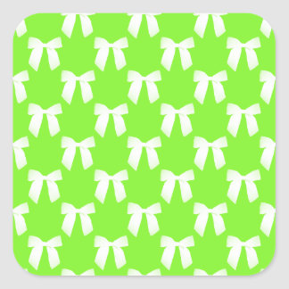 Neon Green Flower Girl Kids Wedding Gift Square Sticker