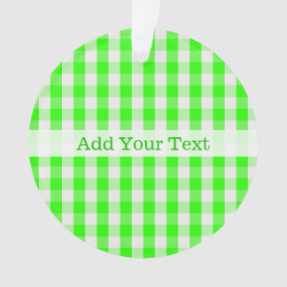 Neon Green Gingham Pattern by Shirley Taylor Ornament