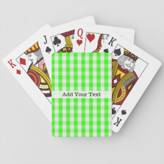 Neon Green Gingham Pattern by Shirley Taylor Playing Cards