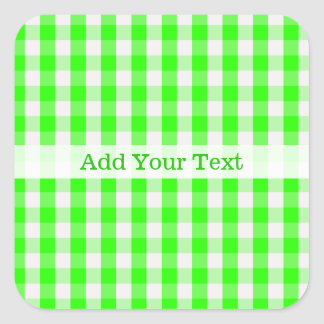 Neon Green Gingham Pattern by Shirley Taylor Square Sticker