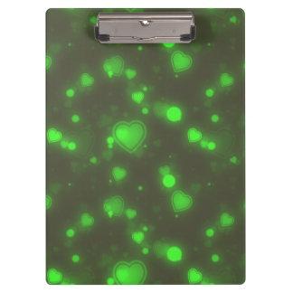 Neon Green Glitter Bubble Hearts Clipboard
