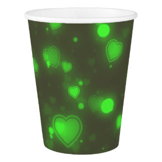Neon Green Glitter Bubble Hearts Paper Cup