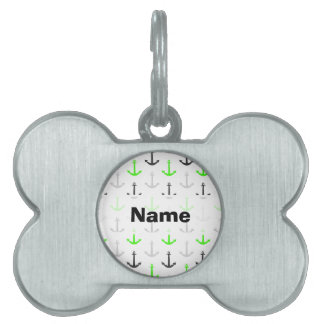 Neon Green, Gray, Anchors; Nautical Pet Tag