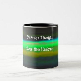 Neon Green Haze & Strange thingsBlack Background Two-Tone Coffee Mug